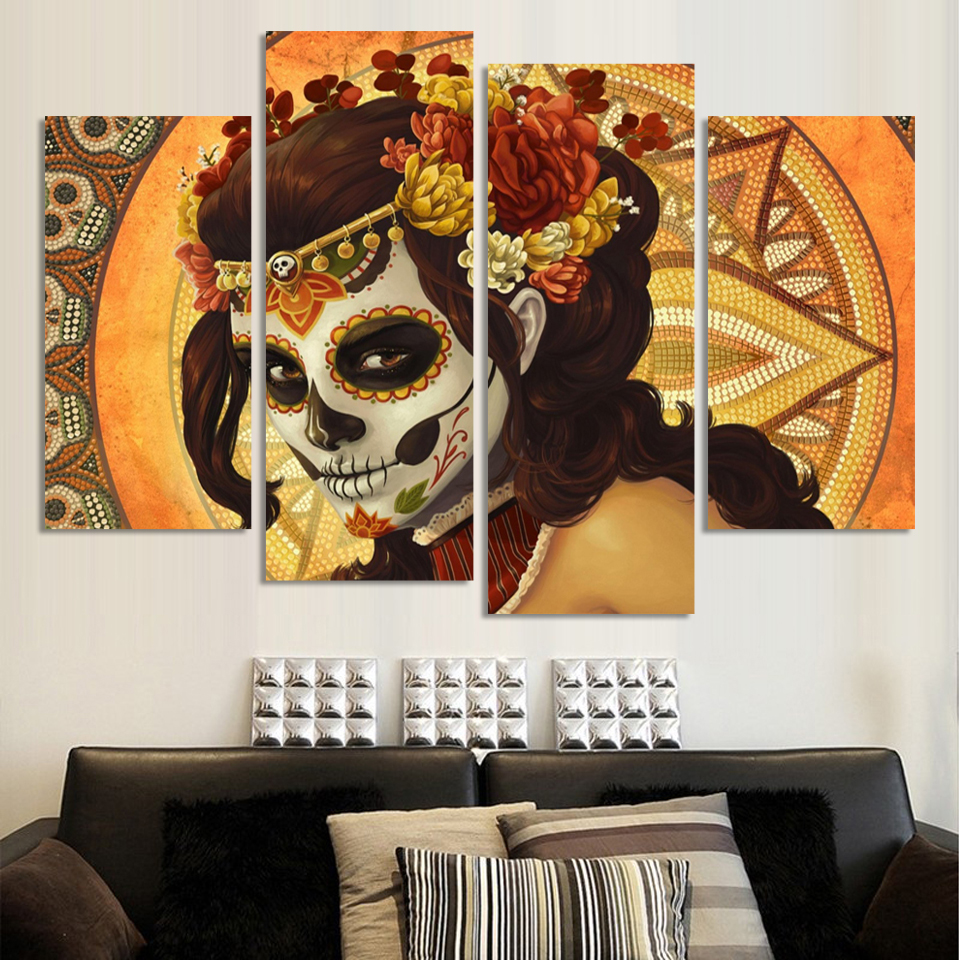 Hand Painted Abstract Canvas Painting painting Wall Art No Framed Decoration Fashion Picture 4pns A022(China (Mainland))