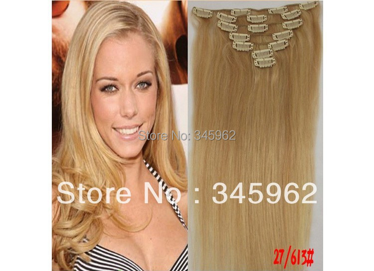 clip hair extensions 100% Brazilian remy extension Honey Color 27/613 45cm-75cm - sexy products wigs store