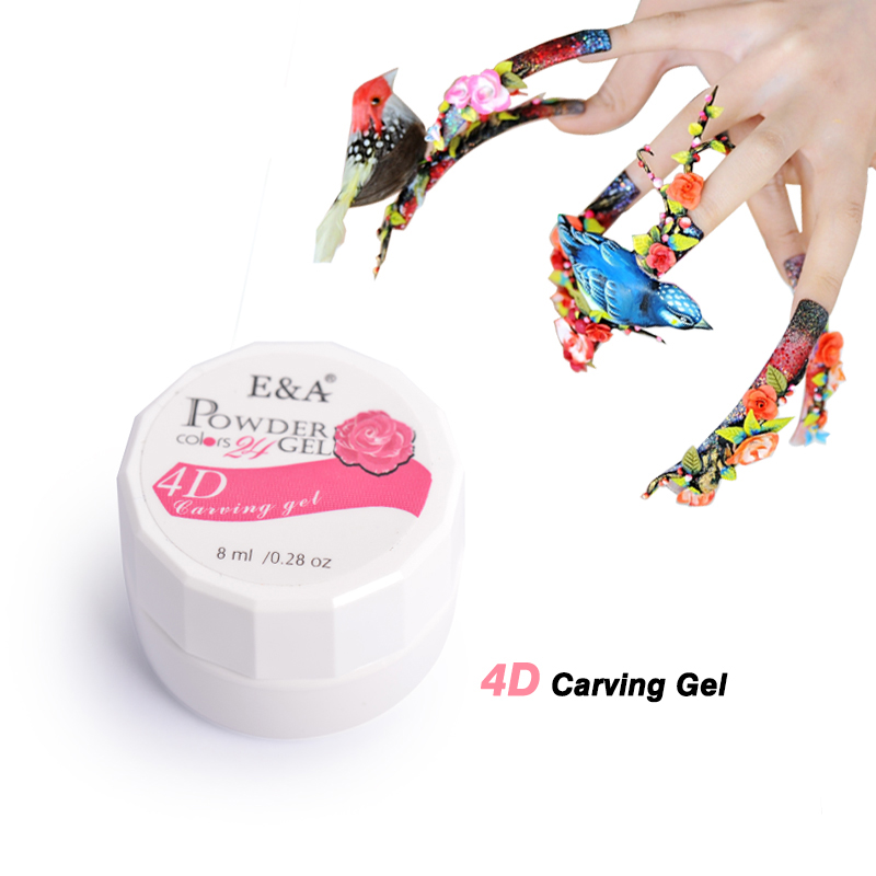 E&A 24 Colors Nail Art Design 3D UV Gel Professional Nail Painting Sculpture Gel(China (Mainland))