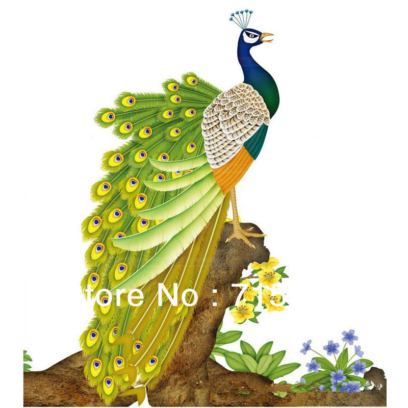 Free shipping Peacock wall stickers/Ethnic Style/Chinese Style Wall ...
