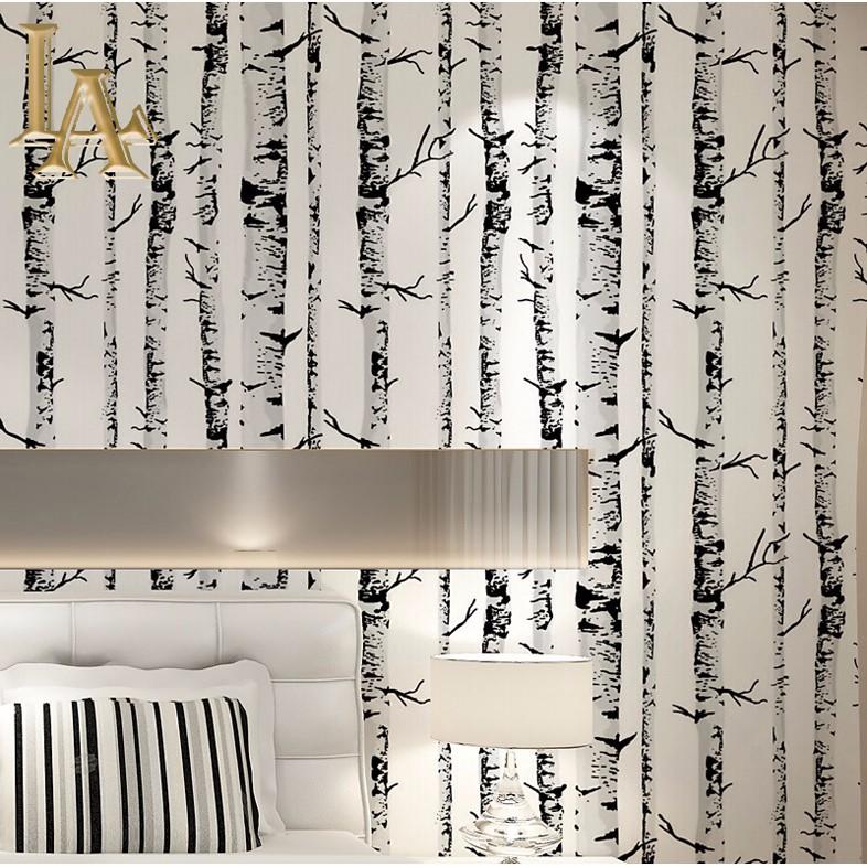 Wholesale Black White Birch Tree Wallpaper Vinyl Bedroom Living Room Background Wall Decor