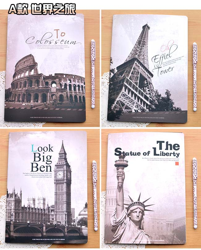 Korea Stationery journey of the world! Series B5 Notebook Exquisite Diary Books School Notebooks Korean Office Supplies(China (Mainland))