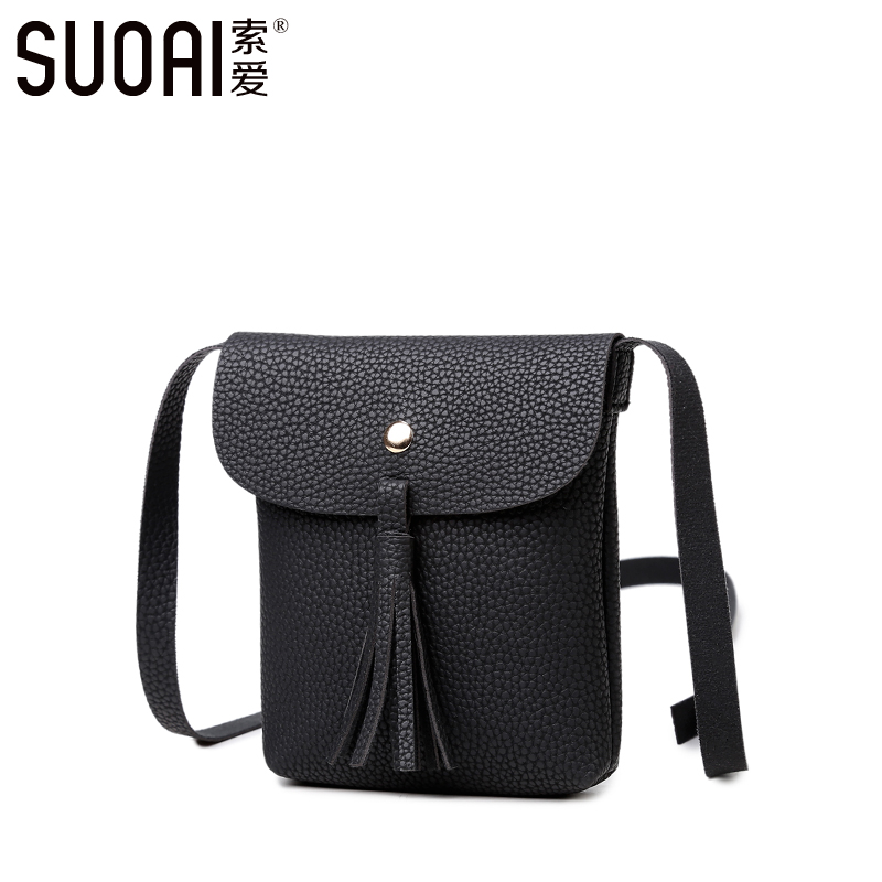 SUOAI Brand Mini Messenger Bags Women Fashion Pu Leather Tassel Shoulder Mobile Phone Bags(China (Mainland))