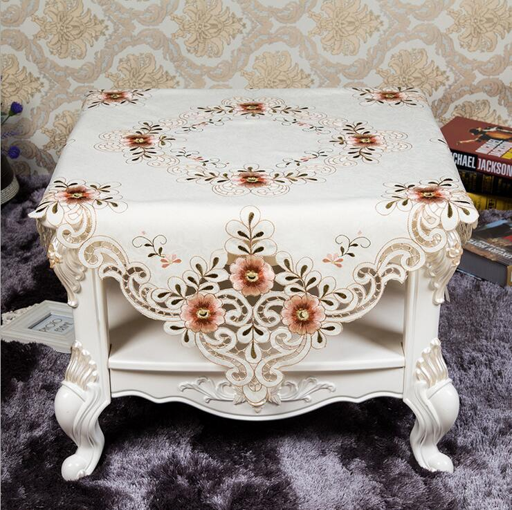 New Hot Elegant Design Polyester Satin Embroidery Floral Tablecloth Orange Flower Embroidered Table Topper Cloth Cover(China (Mainland))