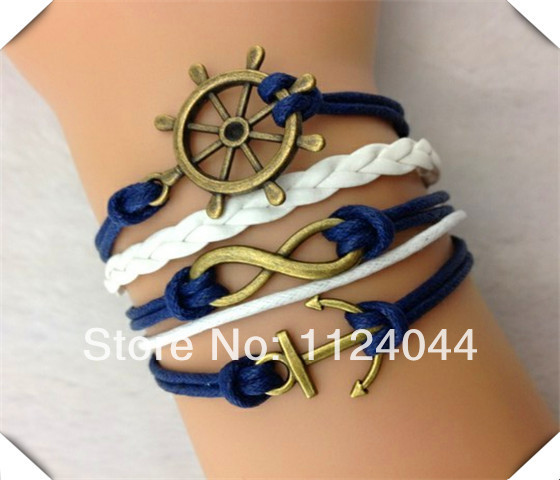 Free Shipping!6PCS/LOT!Handcrafted White Navy Leather Wax Cord Infinity Anchor Rudder Bracelet Popular Girl Dress Jewelry F-755(China (Mainland))