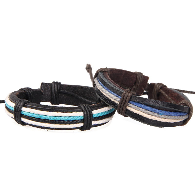 2016 New Statement 2pcs Mens Womens Cool Sports Bracelets Rope Mix Color Leather Charm Wristband Bracelet For Couples Jewelry(China (Mainland))