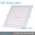 דק במיוחד עיצוב 3W/6W/9W/12W/15W/18W/24W LED שקוע תקרה רשת downlight/ סלים עגולים לוח אור / אור LED משלוח חינם