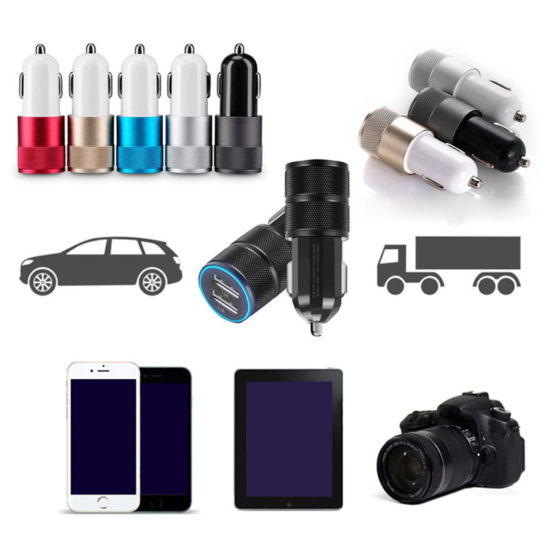 Universal USB Car Charger 2.1V Double USB Metal Car charger Mobile Phone Charging Small Steel Cannon Car charger Car Kit