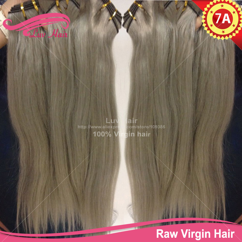 100 virgin remy brazillian grey hair weave color human hair extension 7a straight wholesale brazilian hair new hairstyle(China (Mainland))