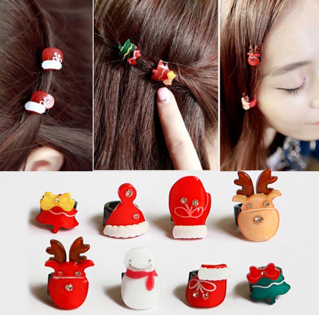 Personalizado creativo adornos navidad, diseño romántico 8 unids navidad accesorios para el cabello, Kawaii