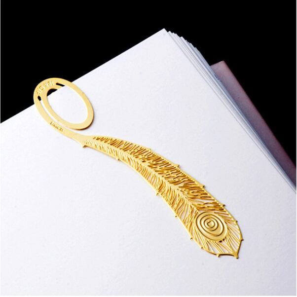 12 set of THANK YOU gold peacock feather bookmarks for books,wholesale beautiful book marks clips for reading(China (Mainland))