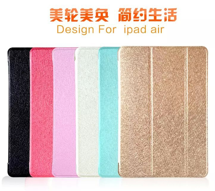 For Ipad 6 Natural Silk Leather Cover for Ipad Air 2 Tablets Accessories Luxury Stand Smart Case for Ipad Air 2 / for Ipad 6(China (Mainland))
