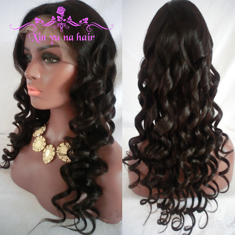 Lace Front Human Hair Wigs Wavy 100% Unprocessed Virgin Brazilian 130Density Water Wave Full Lace Wigs For Black Women In Stock(China (Mainland))