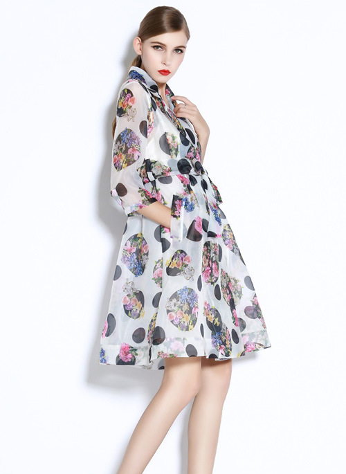 organza trench coat high quality handcut french stylish modest casual 2015 summer women european floral coat windbreaker hot(China (Mainland))