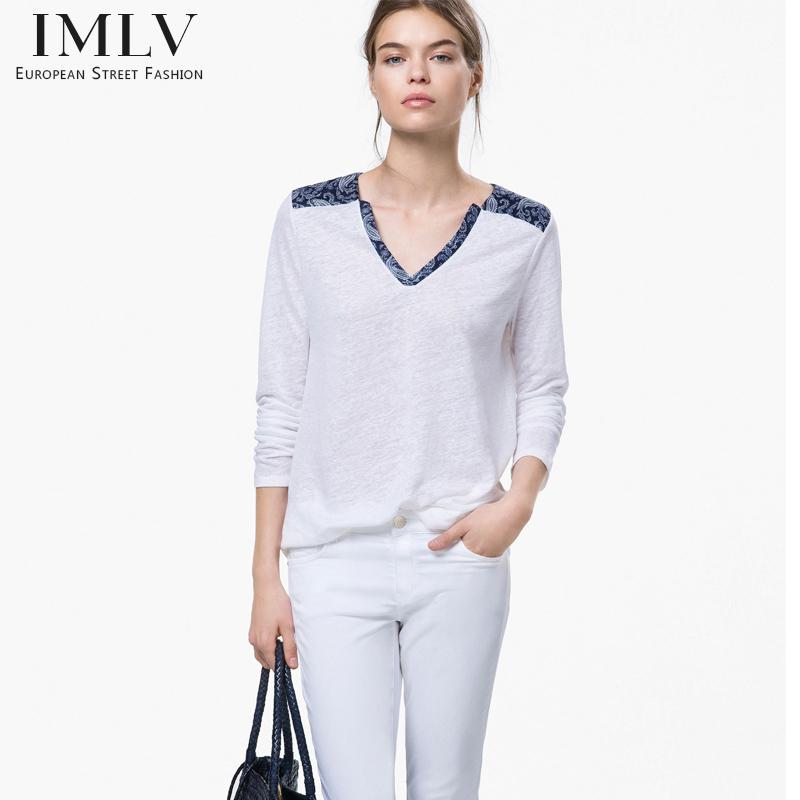 Buy women 39 s v neck cotton long sleeve for Long white v neck t shirt