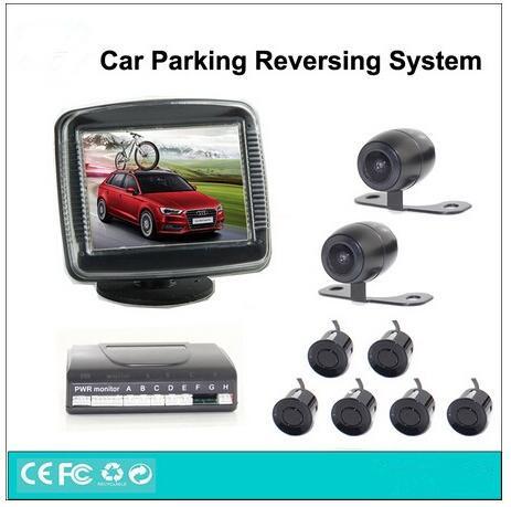 Фотография 3in1 Dual Core CPU Car Parking Assistance reversing system, Universal 6 ar parking Sensosr+2 reversing cameras+3.5 inch monitor