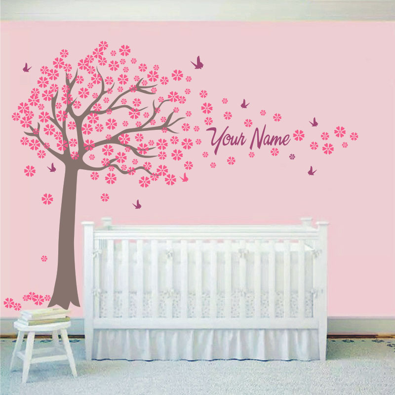 Tree and butterflies decals custome girl or boy name wall - Stickers papillon chambre bebe ...