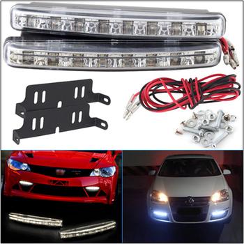 New 2Pcs Car Daytime Running Lights 8 LED DRL Daylight Kit Super White 12V DC Head Lamp # 12533