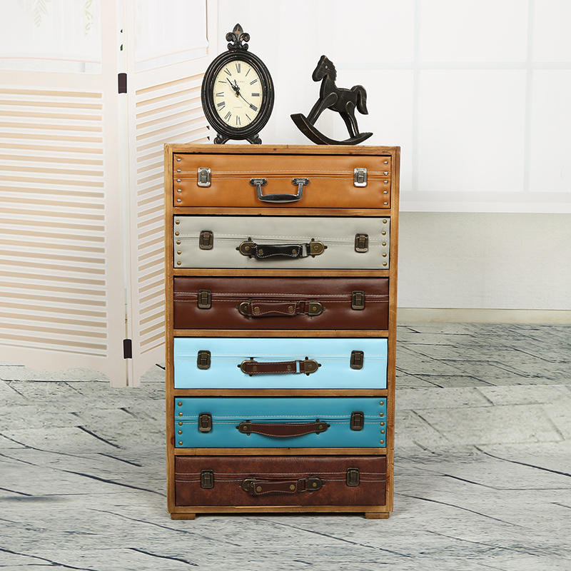 European and American style retro rustic wood cabinet drawer storage cabinets lockers do the old classical multi-bucket suitcase(China (Mainland))