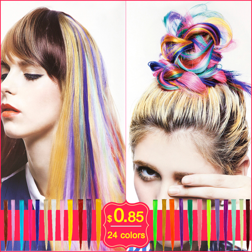 """20"""" Synthetic hairpiece Long hair color Straight one piece Clip In Colored Hair Extensions for women cheerleading squads fans(China (Mainland))"""
