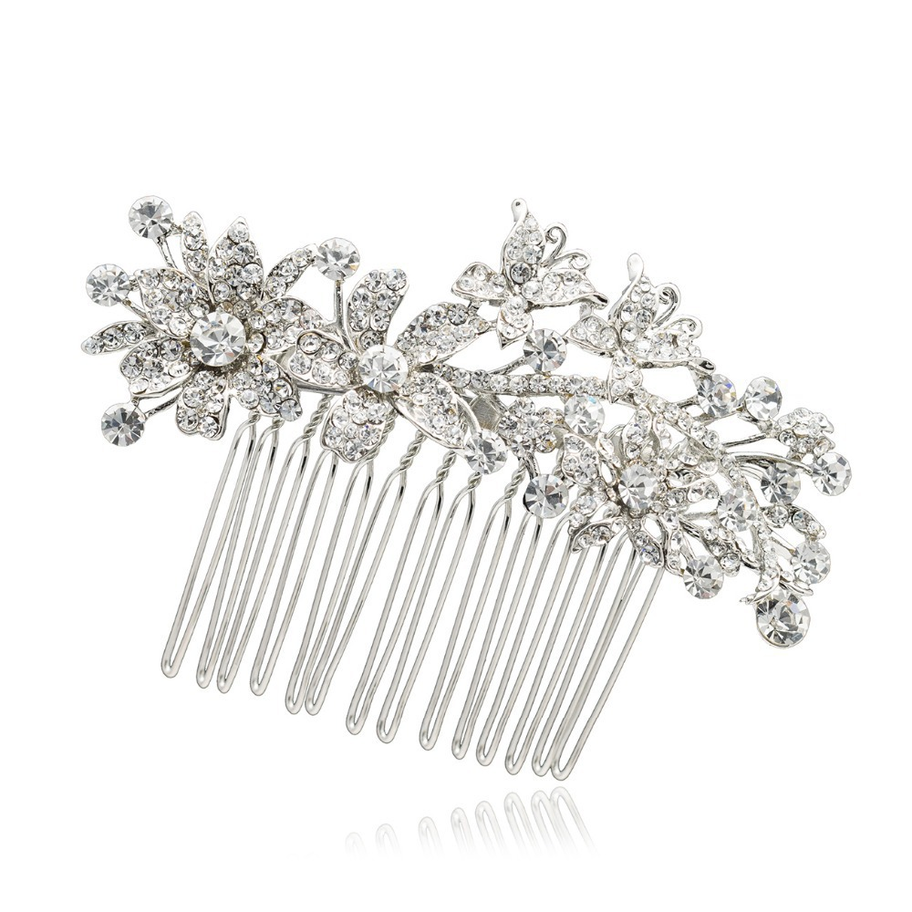 Flower Wedding Hair Accessories Fabulous Clear Rhinestone Crystal Hair Comb Tiara for Bridal Banquet Brand(China (Mainland))