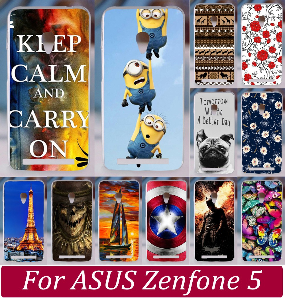 Hot Cute Dog Despicable Me Yellow Minion Butterfly Rose Cat Keep Clam Phone Cases For Asus Zenfone 5 Phone Case Cover Skin Shell(China (Mainland))