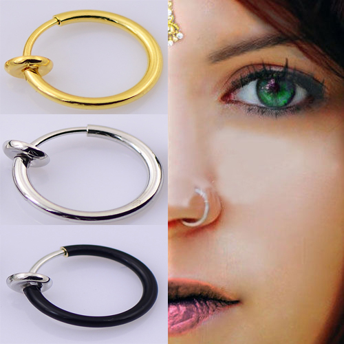 New 1 pair Clip On Fake Nose Hoop Ring Ear Septum Lip Navel Earrings Body Non Piercing Black Jewelry(China (Mainland))