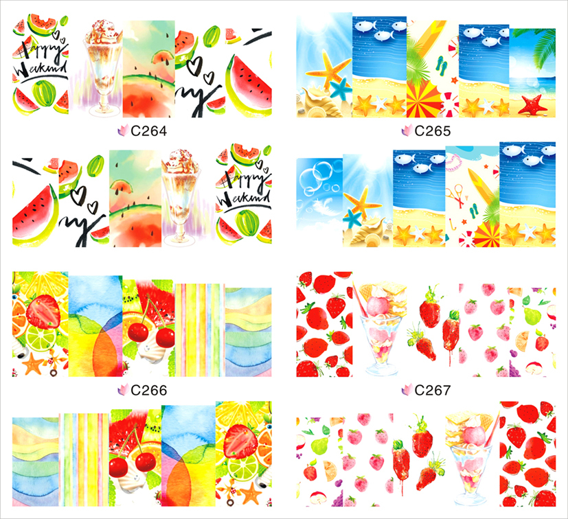 1 Sheet Fruit Party Nail Art Water Transfer Stickers Nail Decals Foils Polish Full Wraps Decoration for Nails C264-C267(China (Mainland))
