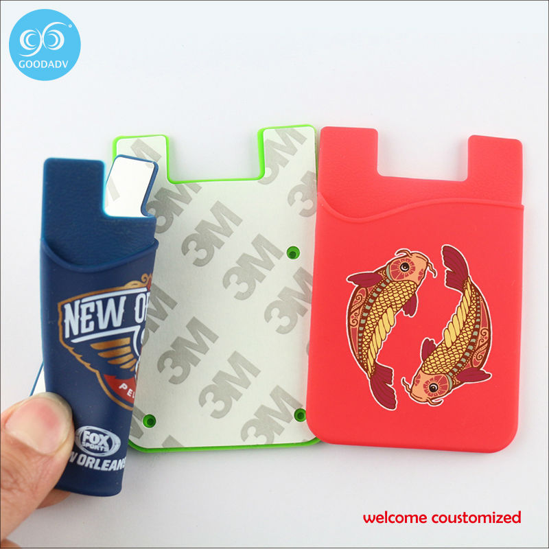 Strong sticky non residuum silicone universal mobile back smart wallet 20 pieces/lot free shipping adhesive credit card holder(China (Mainland))