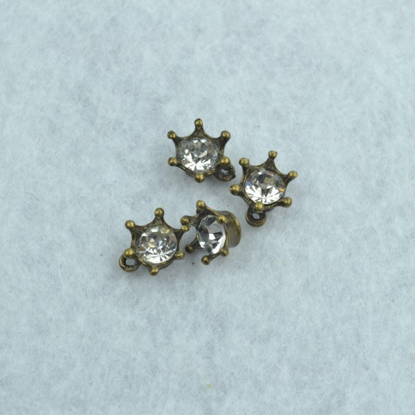 Wholesale 50pcs/lot fashion inlay rhinestone charms diy antique bronze metal imperial crown pendants for jewelry making 1742