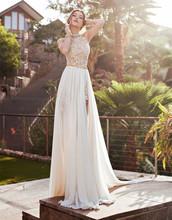 2016 Elegant Women Bohemian Hot Split A-line Halter Rhinestone Bead Lace Chiffon Long Bridal Gown Wedding Dresses Fashion(China (Mainland))