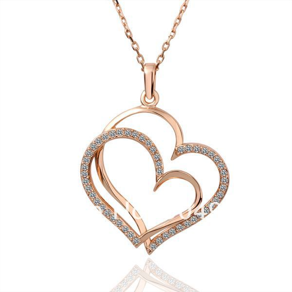 18K Rose Gold Plated Necklaces ! Luxury Women Men Link Chain White Crystal Lover's Double Heart Pendant Necklace N003 - Fashion Ennika CO.,LTD store