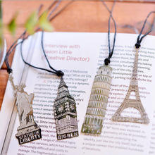 4 pcs/lot europe building tower bookmark cute stationery metal bookmarks for book holder school supplies papelaria(China (Mainland))