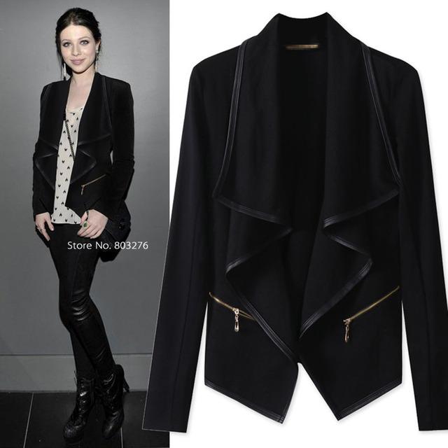 Плюс размер 5XL Женщины Куртки Весна/Осень Тонкий Европейский Стиль Черные Куртки ...
