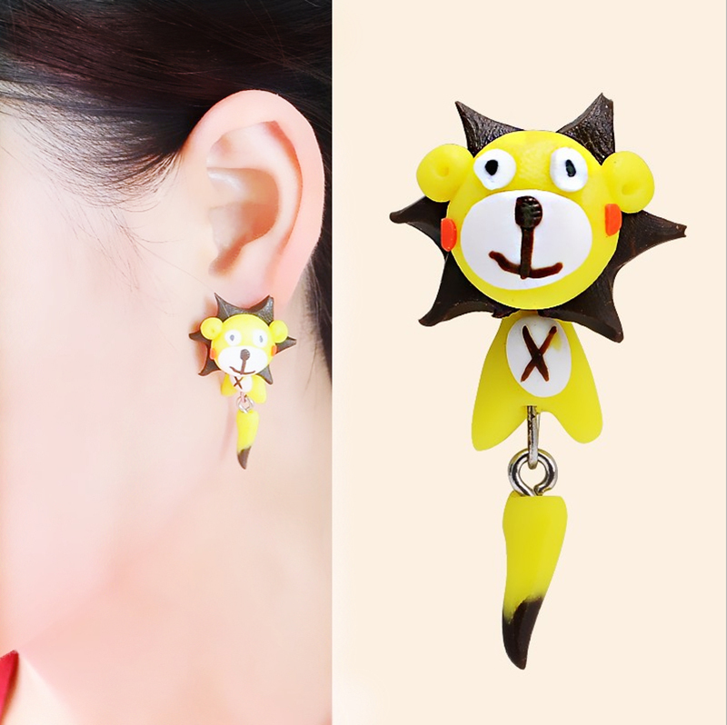 New Handmade Polymer Clay Cute 3D Sun Tiger Lovely Squirrel Animal Stud Earrings Yellow Ear Stud Jewelry Brincos(China (Mainland))