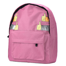 Feitong New Fashion 2016 Women Double-Shoulder Thumb Thumb up Canvas Backpack Schoolbag For Teenage Girls Women mochilas mujer(China (Mainland))