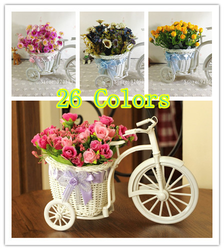 Quality rattan vase + flowers meters orchid artificial flower set home decoration for wedding ,free shipping(China (Mainland))