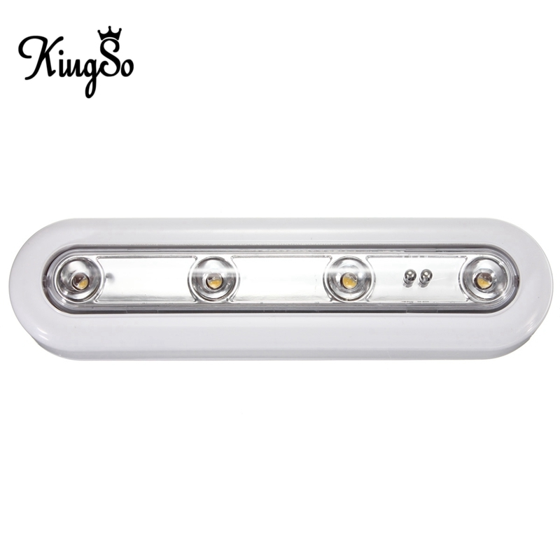 Hot Sale Kingso 4 LED Touch Sensor Night Light Battery Powered For Closet Stairs Bedroom Cabinet Lamp Light Warm White DC4.5V(China (Mainland))