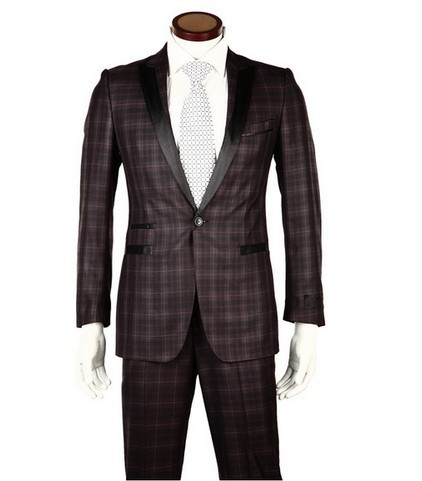 2013 New Arrivals Mens Plaid Formal Suits Italy Brand Fashion Brown Wedding Dress Classic Business Blazers Tuxedo - WOW-Mart store