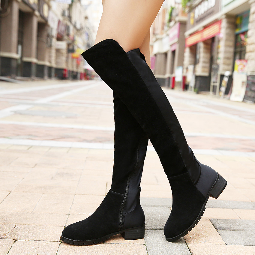 Гаджет  Plus Size35-41 Fashion Design PU Leather/ Flock 2styles ZIP Women Boots Shoes Over the Knee Boots None Обувь