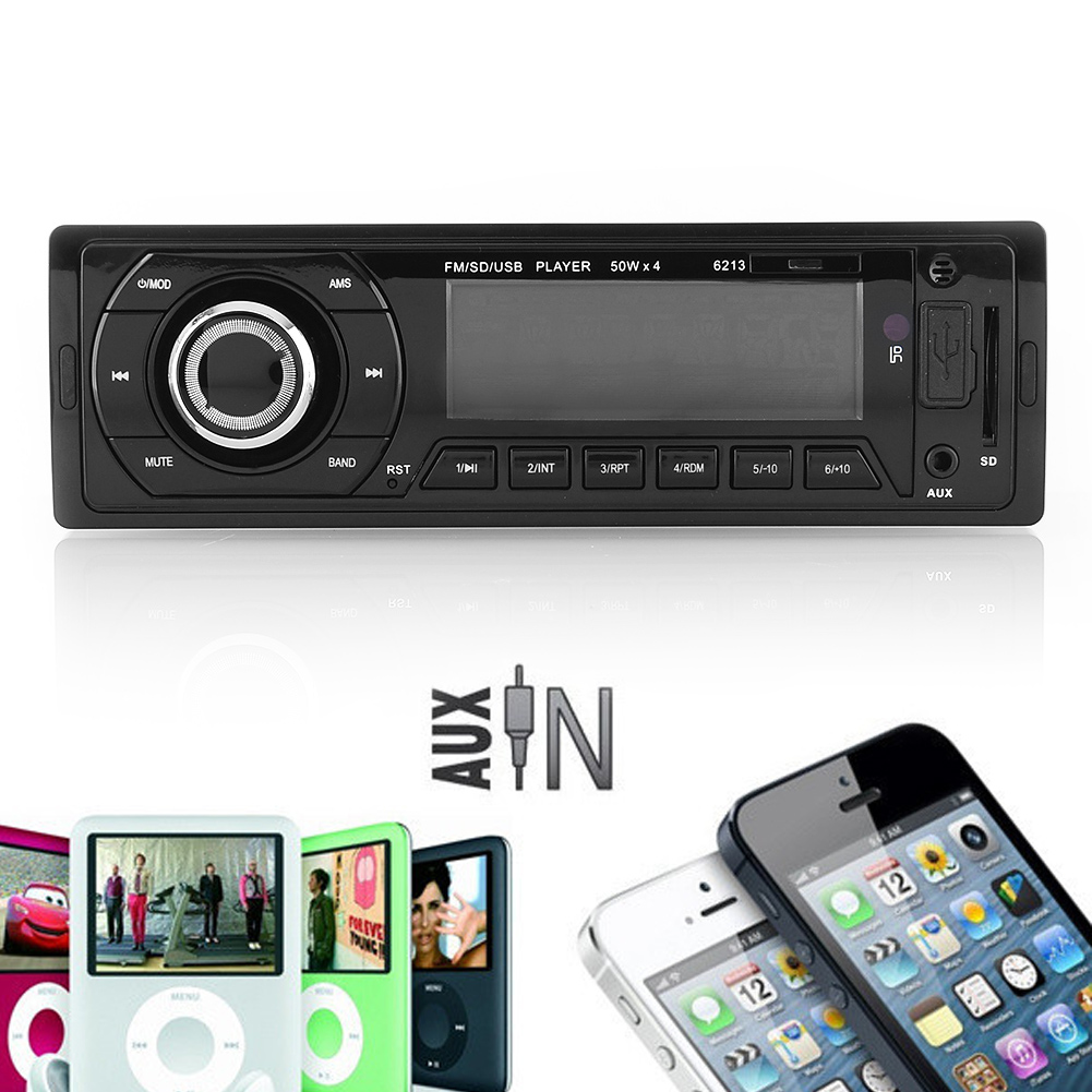 Car Vehicle Audio Sound Stereo In-Dash MP3 Player Radio USB/SD/AUX/MMC Input FM Receiver 6213 Auto Memory Store Preset Scan(China (Mainland))
