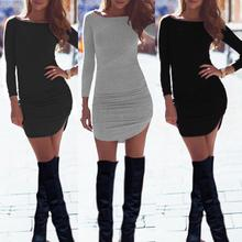 2016 New Spring Winter Sexy Women Ladies Long Sleeve Bodycon Bandage Club Party Dress robe femme Casual Office T Shirt Dress Z1(China (Mainland))