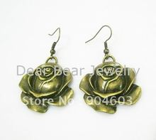 12Pairs/lot Free shipping Newest Fashion Vintage Antique Brass Rose Flower Earrings E042(China (Mainland))