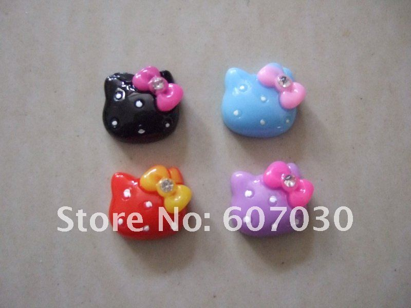 100pcs Mixed Hello Kitty Resin Flatback Fit For Kid's Ring, phone decoration DIY decoration 18x18mm(China (Mainland))