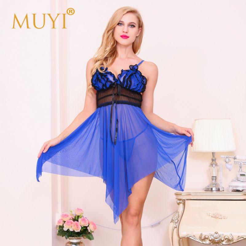 Women Sexy Night Bandage Dress Royal Blue Wedding Sleepwear Gown Babydoll Nightwear Erotic Lingerie Backless Pajamas Set Clothes(China (Mainland))