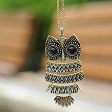x293  Fashion Necklace Bronze Cute Owl Necklace With Big Eye Pendant Vintage Necklace(China (Mainland))