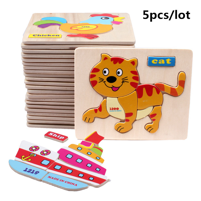 5pcs/lot 3D animal wooden puzzles wooden tangram jigsaw Board tangram Educational Learning for child Kids toys(wxt015)