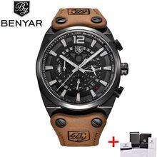 BENYAR grand cadran Sport montre hommes étanche en plein air militaire chronographe Quartz cuir montre armée mâle horloge Relogio Masculino(China)