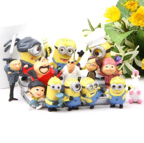 14 Pcs/Set Minions 3D Toy Anime Despicable 2 Figurines Action Figures Vinyl Dolls Baby Toys Kids Gift Boys Girls Children - Store store