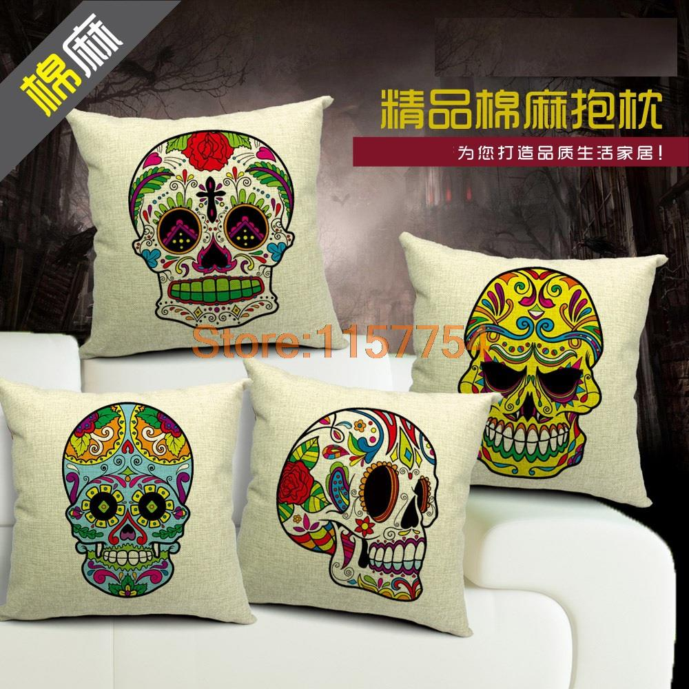 Skull Mexican Caveira Pillow Vintage